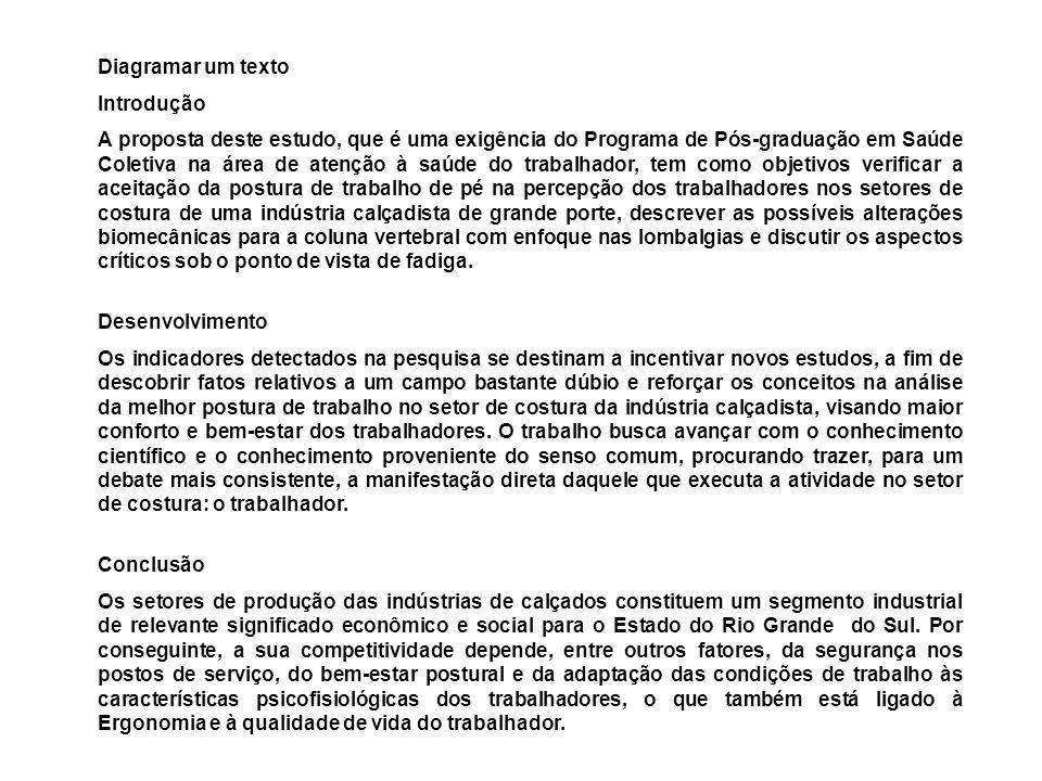 Diagramar um texto Introdução A proposta deste estudo, que é uma exigência do Programa de Pós-graduação em Saúde Coletiva na área de atenção à saúde d