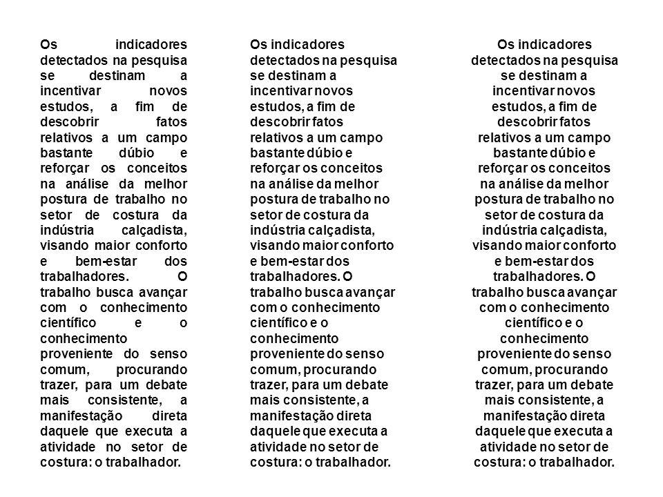 Os indicadores detectados na pesquisa se destinam a incentivar novos estudos, a fim de descobrir fatos relativos a um campo bastante dúbio e reforçar os conceitos na análise da melhor postura de trabalho no setor de costura da indústria calçadista, visando maior conforto e bem-estar dos trabalhadores.