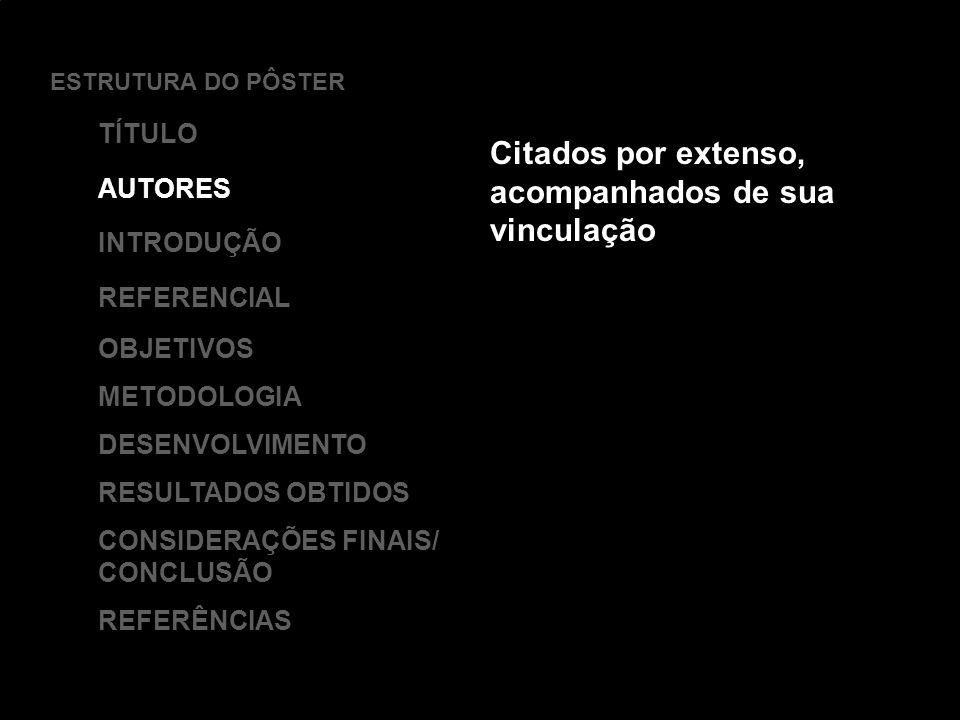 Citados por extenso, acompanhados de sua vinculação ESTRUTURA DO PÔSTER TÍTULO AUTORES INTRODUÇÃO REFERENCIAL OBJETIVOS METODOLOGIA DESENVOLVIMENTO RESULTADOS OBTIDOS CONSIDERAÇÕES FINAIS/ CONCLUSÃO REFERÊNCIAS