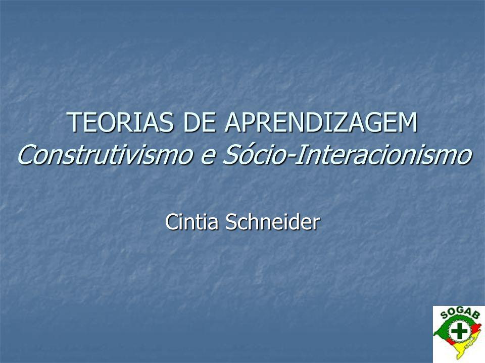 TEORIAS DE APRENDIZAGEM Construtivismo e Sócio-Interacionismo Cintia Schneider