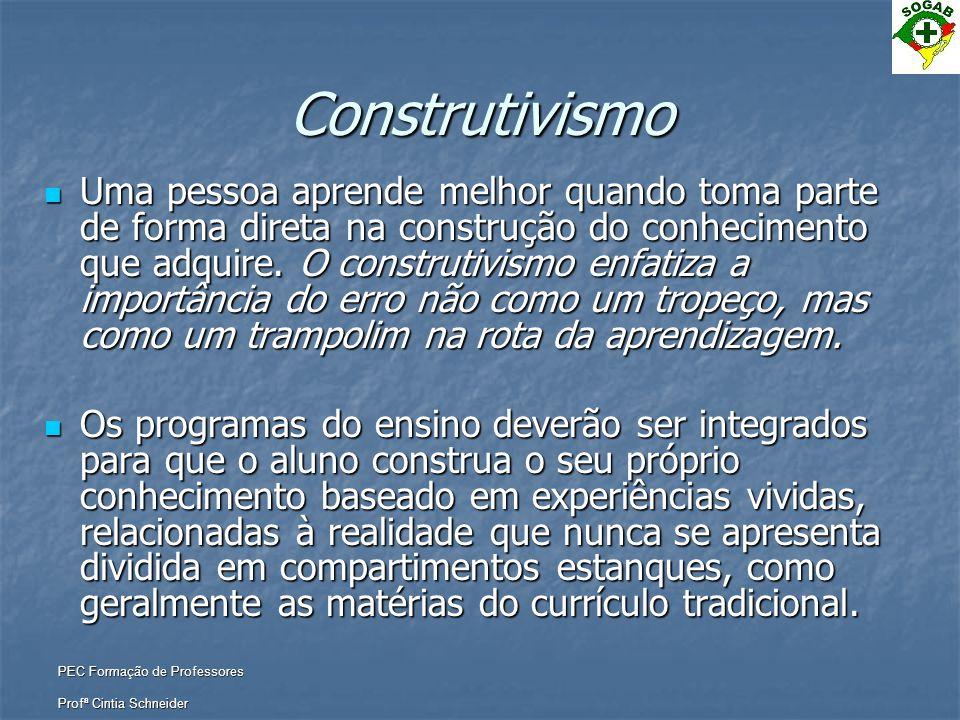 PEC Formação de Professores Profª Cintia Schneider Construtivismo  Uma pessoa aprende melhor quando toma parte de forma direta na construção do conhe