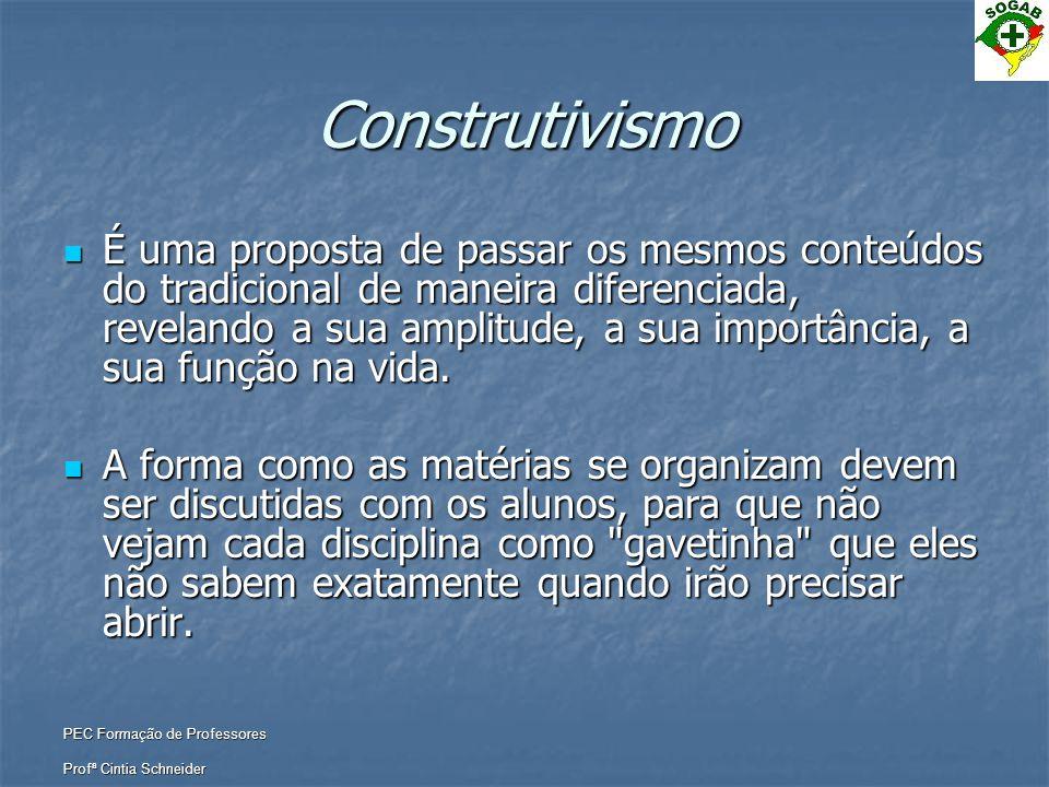 PEC Formação de Professores Profª Cintia Schneider Construtivismo  É uma proposta de passar os mesmos conteúdos do tradicional de maneira diferenciad