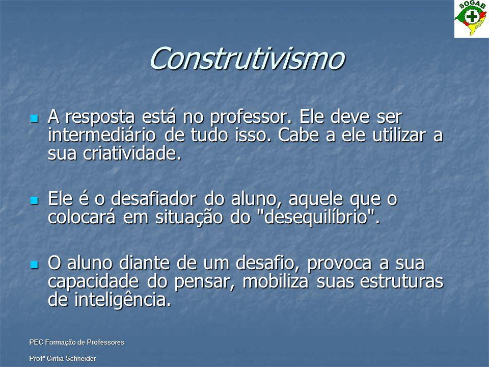 PEC Formação de Professores Profª Cintia Schneider Construtivismo  A resposta está no professor. Ele deve ser intermediário de tudo isso. Cabe a ele