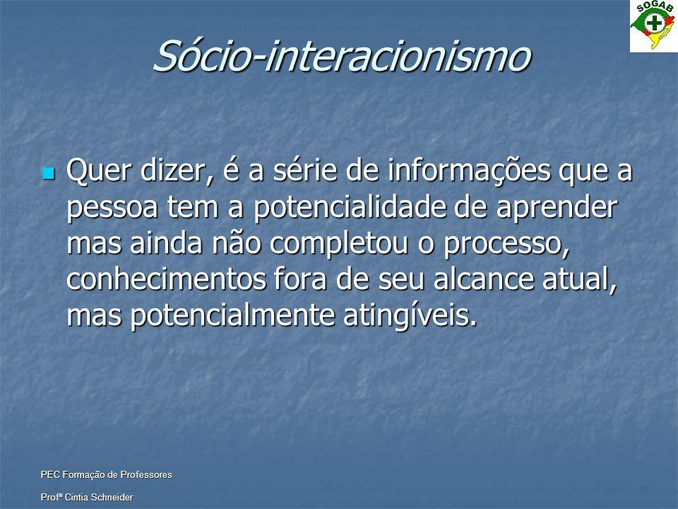 PEC Formação de Professores Profª Cintia Schneider Sócio-interacionismo  Quer dizer, é a série de informações que a pessoa tem a potencialidade de ap