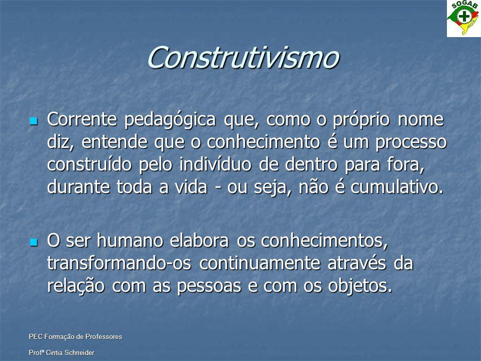 PEC Formação de Professores Profª Cintia Schneider Construtivismo  Corrente pedagógica que, como o próprio nome diz, entende que o conhecimento é um