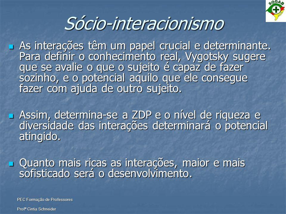 PEC Formação de Professores Profª Cintia Schneider Sócio-interacionismo  As interações têm um papel crucial e determinante. Para definir o conhecimen