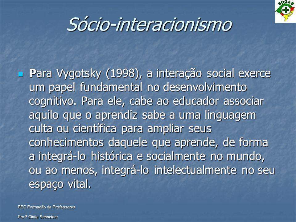 PEC Formação de Professores Profª Cintia Schneider Sócio-interacionismo  Para Vygotsky (1998), a interação social exerce um papel fundamental no dese
