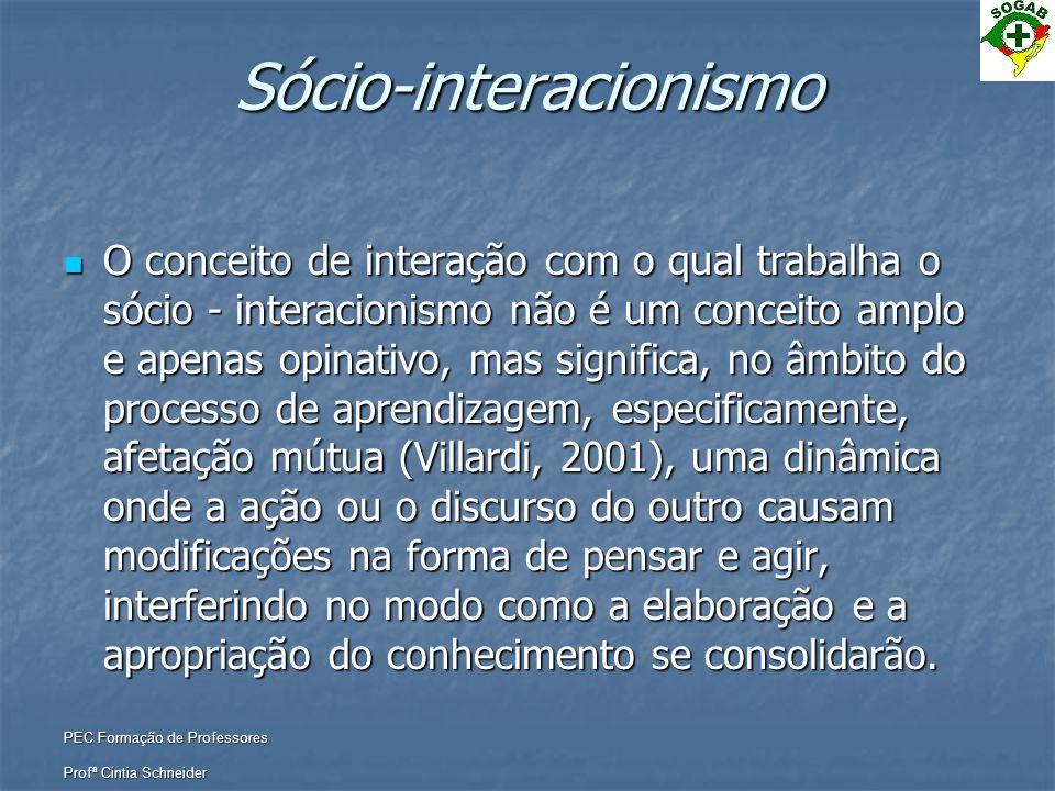 PEC Formação de Professores Profª Cintia Schneider Sócio-interacionismo  O conceito de interação com o qual trabalha o sócio - interacionismo não é u