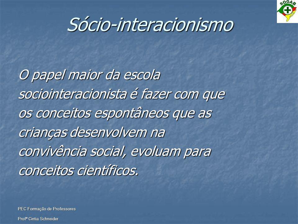 PEC Formação de Professores Profª Cintia Schneider Sócio-interacionismo O papel maior da escola sociointeracionista é fazer com que os conceitos espon