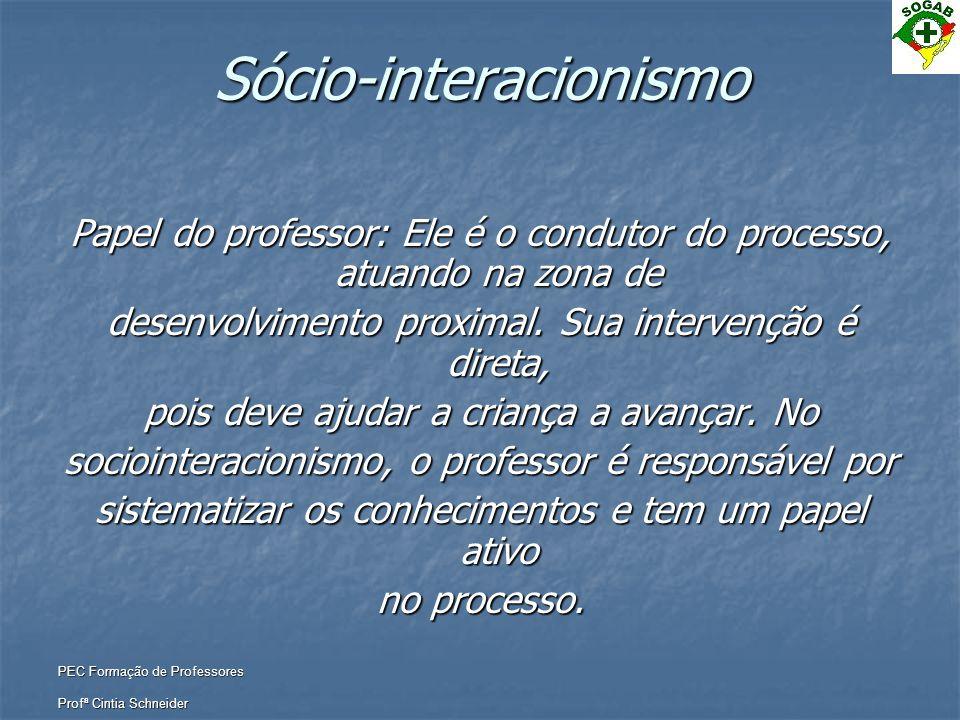 PEC Formação de Professores Profª Cintia Schneider Sócio-interacionismo Papel do professor: Ele é o condutor do processo, atuando na zona de desenvolv