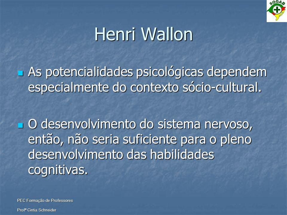 PEC Formação de Professores Profª Cintia Schneider Henri Wallon  As potencialidades psicológicas dependem especialmente do contexto sócio-cultural. 