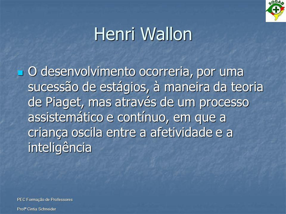 PEC Formação de Professores Profª Cintia Schneider Henri Wallon  O desenvolvimento ocorreria, por uma sucessão de estágios, à maneira da teoria de Pi