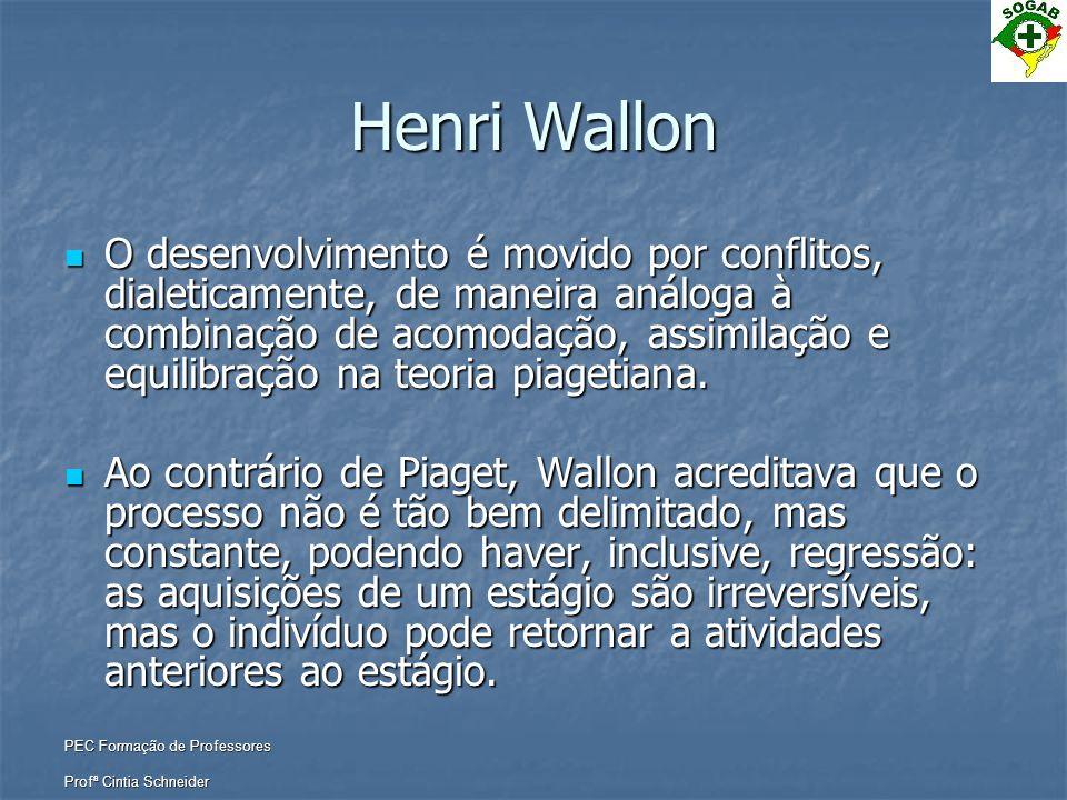 PEC Formação de Professores Profª Cintia Schneider Henri Wallon  O desenvolvimento é movido por conflitos, dialeticamente, de maneira análoga à combi