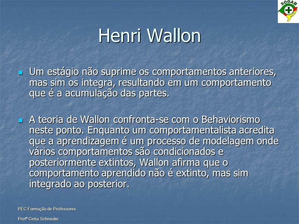 PEC Formação de Professores Profª Cintia Schneider Henri Wallon  Um estágio não suprime os comportamentos anteriores, mas sim os integra, resultando