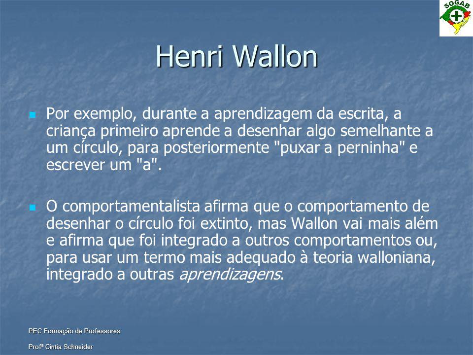 PEC Formação de Professores Profª Cintia Schneider Henri Wallon   Por exemplo, durante a aprendizagem da escrita, a criança primeiro aprende a desen