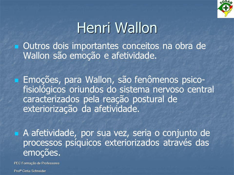 PEC Formação de Professores Profª Cintia Schneider Henri Wallon   Outros dois importantes conceitos na obra de Wallon são emoção e afetividade.  
