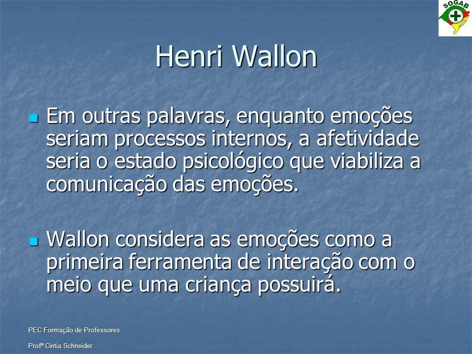 PEC Formação de Professores Profª Cintia Schneider Henri Wallon  Em outras palavras, enquanto emoções seriam processos internos, a afetividade seria
