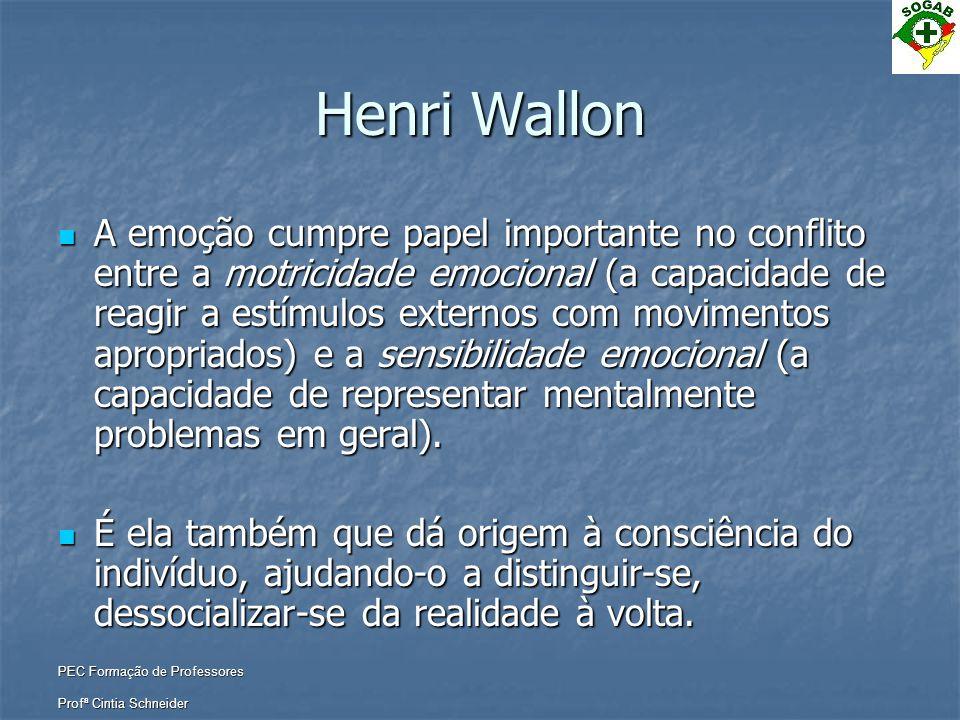 PEC Formação de Professores Profª Cintia Schneider Henri Wallon  A emoção cumpre papel importante no conflito entre a motricidade emocional (a capaci