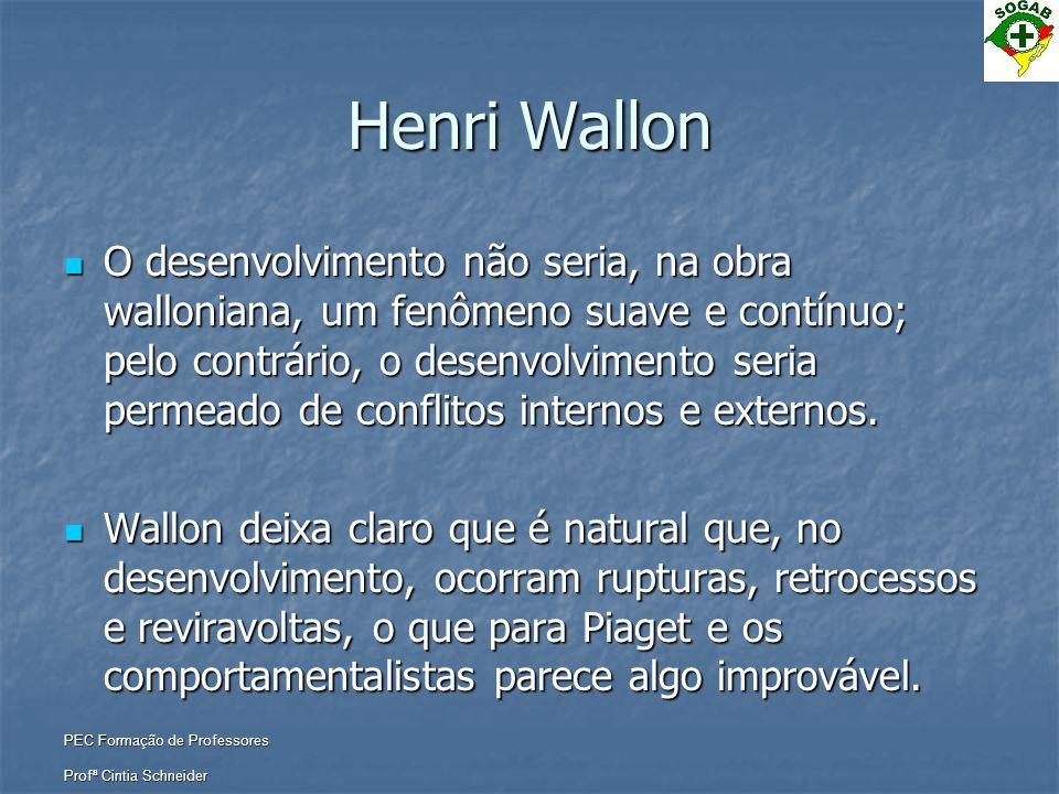 PEC Formação de Professores Profª Cintia Schneider Henri Wallon  O desenvolvimento não seria, na obra walloniana, um fenômeno suave e contínuo; pelo