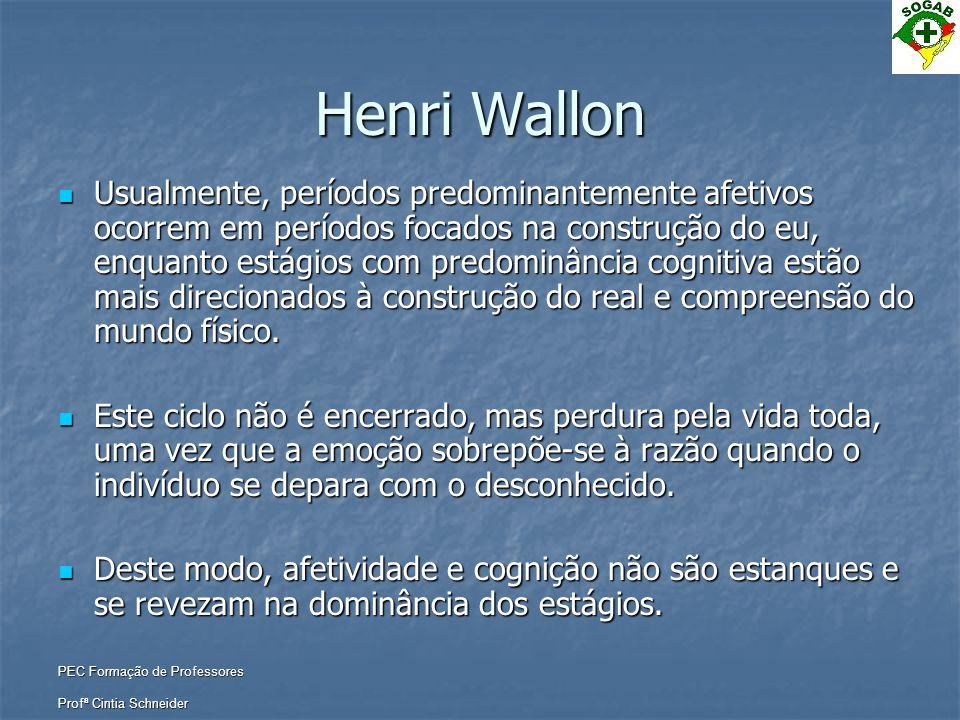 PEC Formação de Professores Profª Cintia Schneider Henri Wallon  Usualmente, períodos predominantemente afetivos ocorrem em períodos focados na const