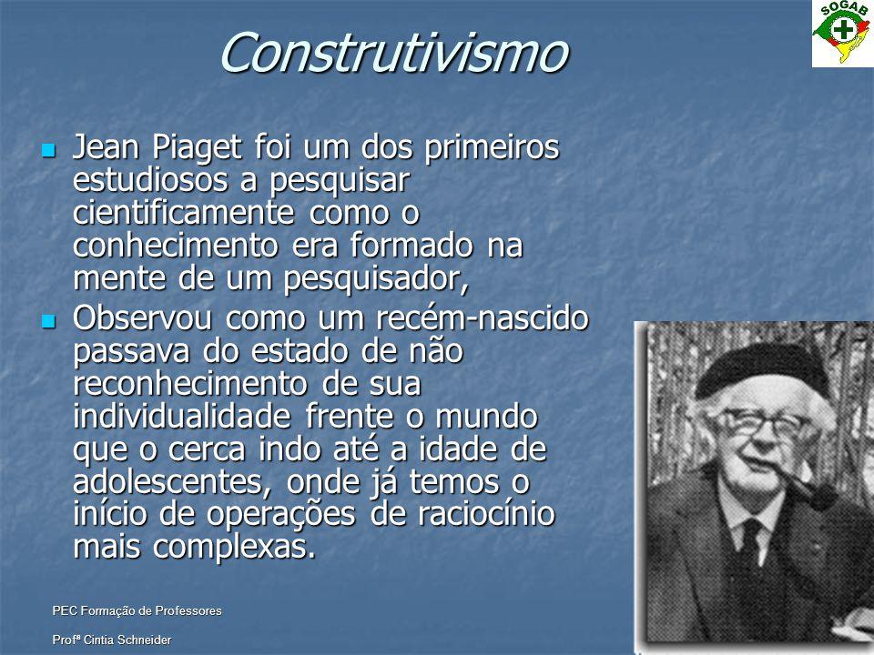 PEC Formação de Professores Profª Cintia SchneiderConstrutivismo  Jean Piaget foi um dos primeiros estudiosos a pesquisar cientificamente como o conh