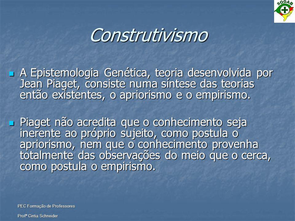 PEC Formação de Professores Profª Cintia Schneider Construtivismo  A Epistemologia Genética, teoria desenvolvida por Jean Piaget, consiste numa sínte