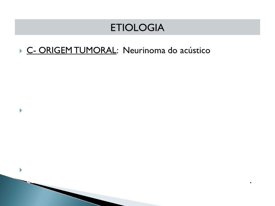  C- ORIGEM TUMORAL: Neurinoma do acústico D- AFECÇÕES NEUROLÓGICAS DEGENERATIVAS: Esclerose múltipla, Esclerose Lateral Amiotrófica  E- ORIGEM TRAUM