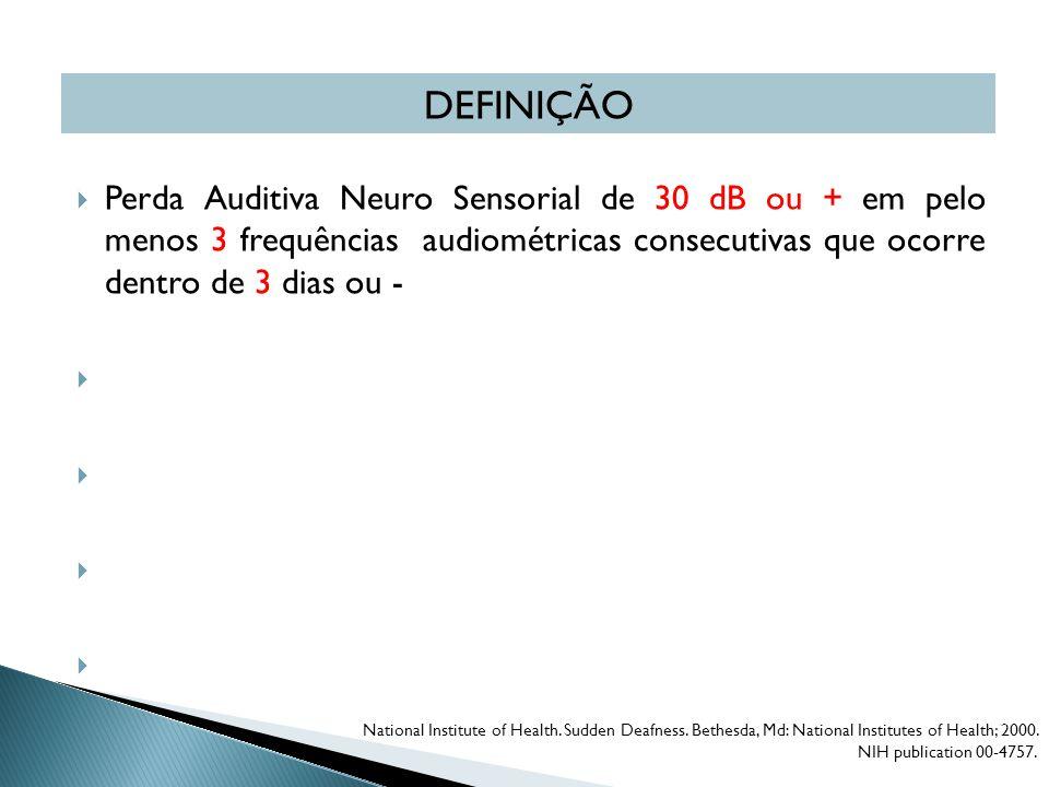  Perda Auditiva Neuro Sensorial de 30 dB ou + em pelo menos 3 frequências audiométricas consecutivas que ocorre dentro de 3 dias ou -  Em geral, é s