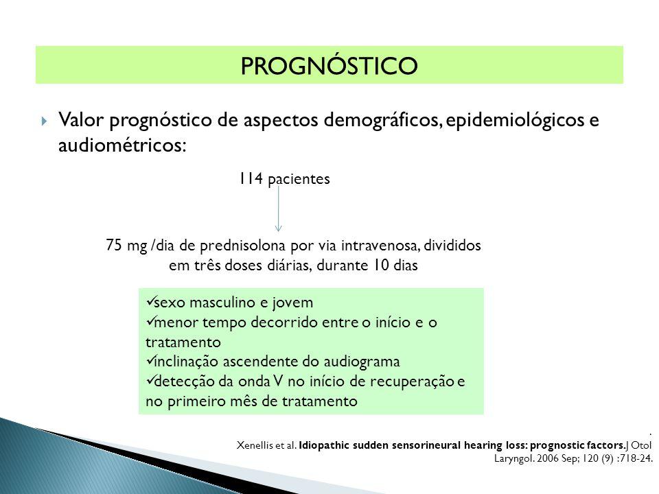 . Xenellis et al. Idiopathic sudden sensorineural hearing loss: prognostic factors.J Otol Laryngol. 2006 Sep; 120 (9) :718-24. PROGNÓSTICO  Valor pro