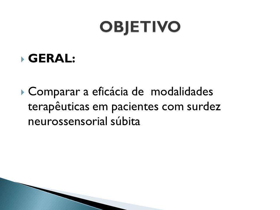  GERAL:  Comparar a eficácia de modalidades terapêuticas em pacientes com surdez neurossensorial súbita