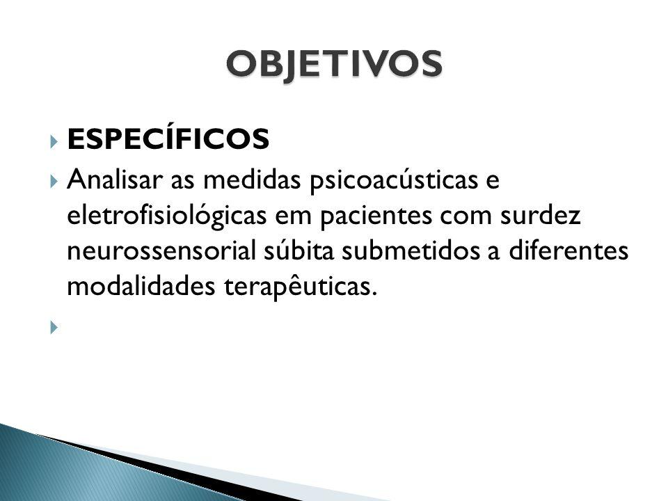  ESPECÍFICOS  Analisar as medidas psicoacústicas e eletrofisiológicas em pacientes com surdez neurossensorial súbita submetidos a diferentes modalid