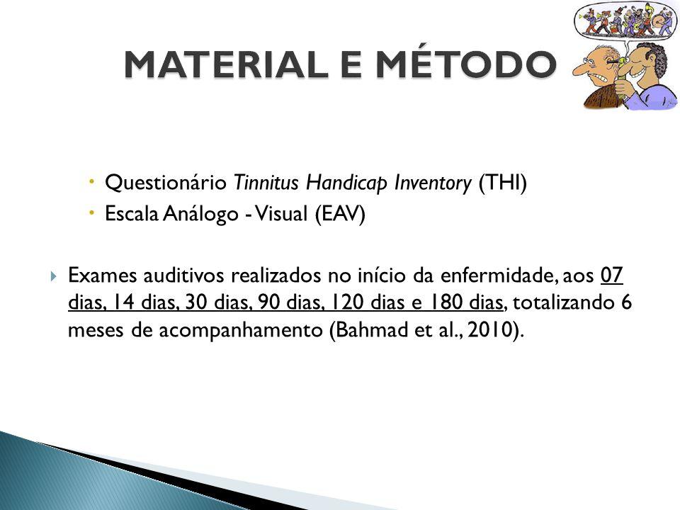  Questionário Tinnitus Handicap Inventory (THI)  Escala Análogo - Visual (EAV)  Exames auditivos realizados no início da enfermidade, aos 07 dias,