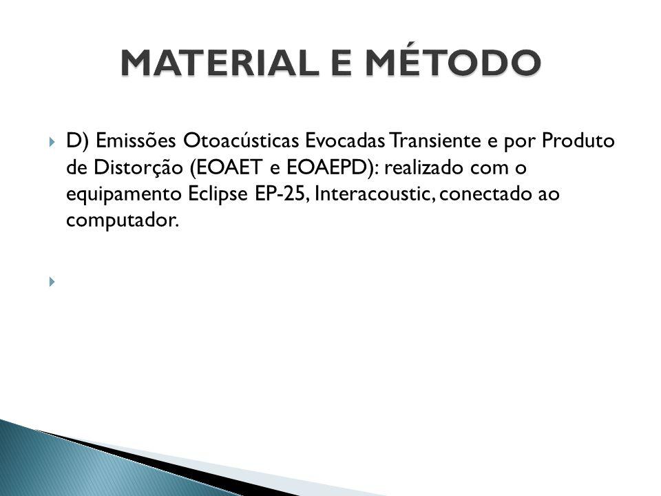  D) Emissões Otoacústicas Evocadas Transiente e por Produto de Distorção (EOAET e EOAEPD): realizado com o equipamento Eclipse EP-25, Interacoustic,