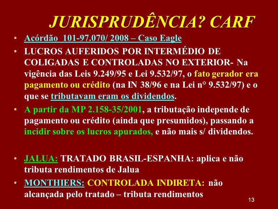 JURISPRUDÊNCIA? CARF •Acórdão 101-97.070/ 2008 – Caso Eagle •LUCROS AUFERIDOS POR INTERMÉDIO DE COLIGADAS E CONTROLADAS NO EXTERIOR- Na vigência das L