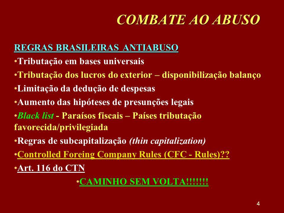 COMBATE AO ABUSO REGRAS BRASILEIRAS ANTIABUSO •Tributação em bases universais •Tributação dos lucros do exterior – disponibilização balanço •Limitação