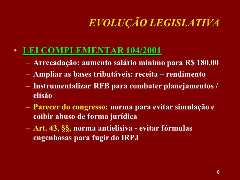 EVOLUÇÃO LEGISLATIVA •LEI COMPLEMENTAR 104/2001 –Arrecadação: aumento salário mínimo para R$ 180,00 –Ampliar as bases tributáveis: receita – rendiment