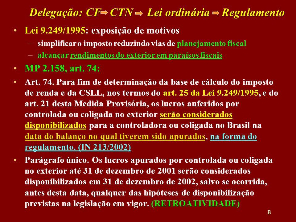 Delegação: CF CTN Lei ordinária Regulamento •Lei 9.249/1995: exposição de motivos –simplificar o imposto reduzindo vias de planejamento fiscal –alcanç