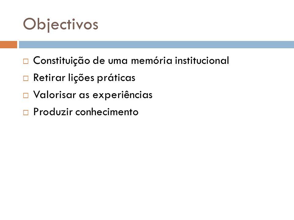 Objectivos  Constituição de uma memória institucional  Retirar lições práticas  Valorisar as experiências  Produzir conhecimento