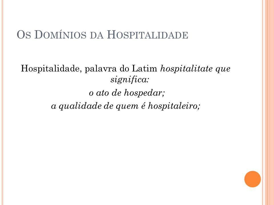 O S D OMÍNIOS DA H OSPITALIDADE Hospitalidade, palavra do Latim hospitalitate que significa: o ato de hospedar; a qualidade de quem é hospitaleiro;