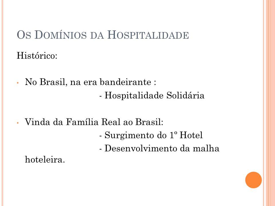 O S D OMÍNIOS DA H OSPITALIDADE Histórico: • No Brasil, na era bandeirante : - Hospitalidade Solidária • Vinda da Família Real ao Brasil: - Surgimento do 1º Hotel - Desenvolvimento da malha hoteleira.