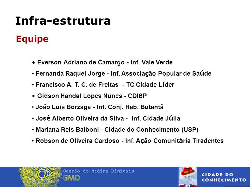 Infra-estrutura Equipe • Everson Adriano de Camargo - Inf.