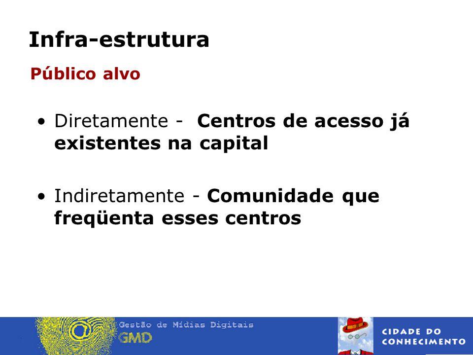 Infra-estrutura •Diretamente - Centros de acesso já existentes na capital •Indiretamente - Comunidade que freqüenta esses centros Público alvo