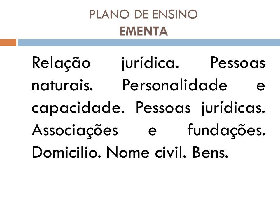 PLANO DE ENSINO EMENTA Relação jurídica. Pessoas naturais. Personalidade e capacidade. Pessoas jurídicas. Associações e fundações. Domicilio. Nome civ