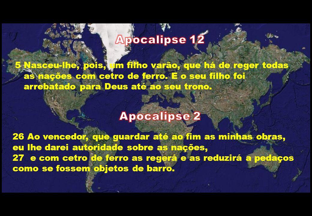26 Ao vencedor, que guardar até ao fim as minhas obras, eu lhe darei autoridade sobre as nações, 27 e com cetro de ferro as regerá e as reduzirá a ped