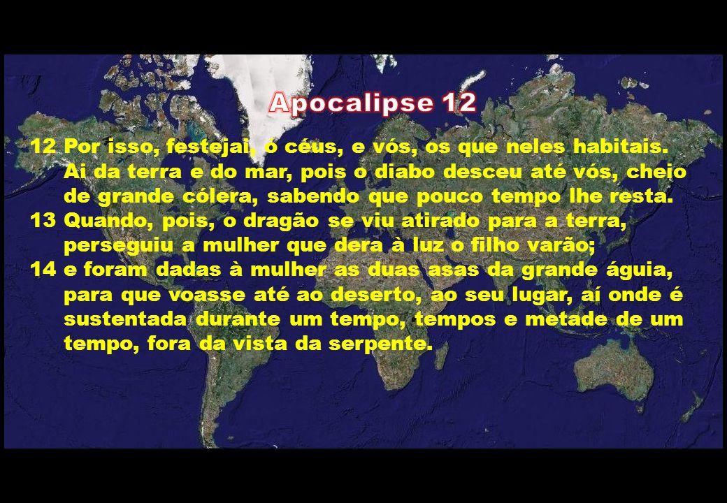 12 Por isso, festejai, ó céus, e vós, os que neles habitais. Ai da terra e do mar, pois o diabo desceu até vós, cheio de grande cólera, sabendo que po