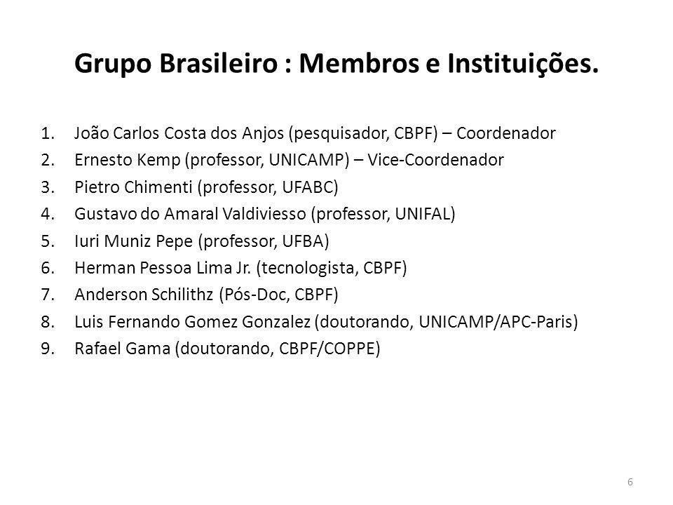 Grupo Brasileiro : Membros e Instituições. 1.João Carlos Costa dos Anjos (pesquisador, CBPF) – Coordenador 2.Ernesto Kemp (professor, UNICAMP) – Vice-