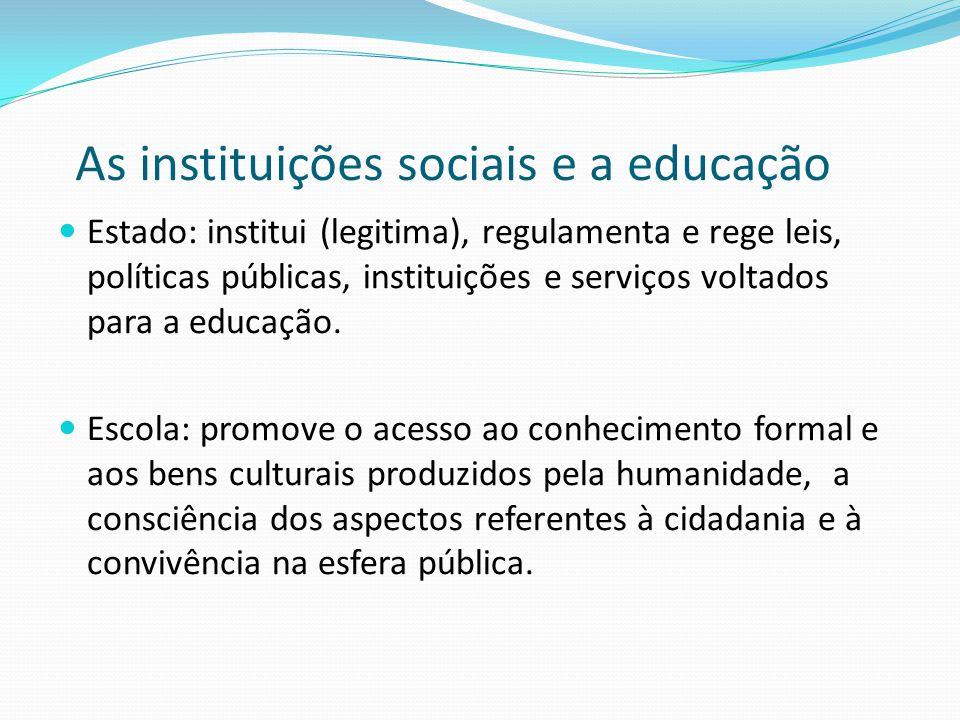 As instituições sociais e a educação  Estado: institui (legitima), regulamenta e rege leis, políticas públicas, instituições e serviços voltados para