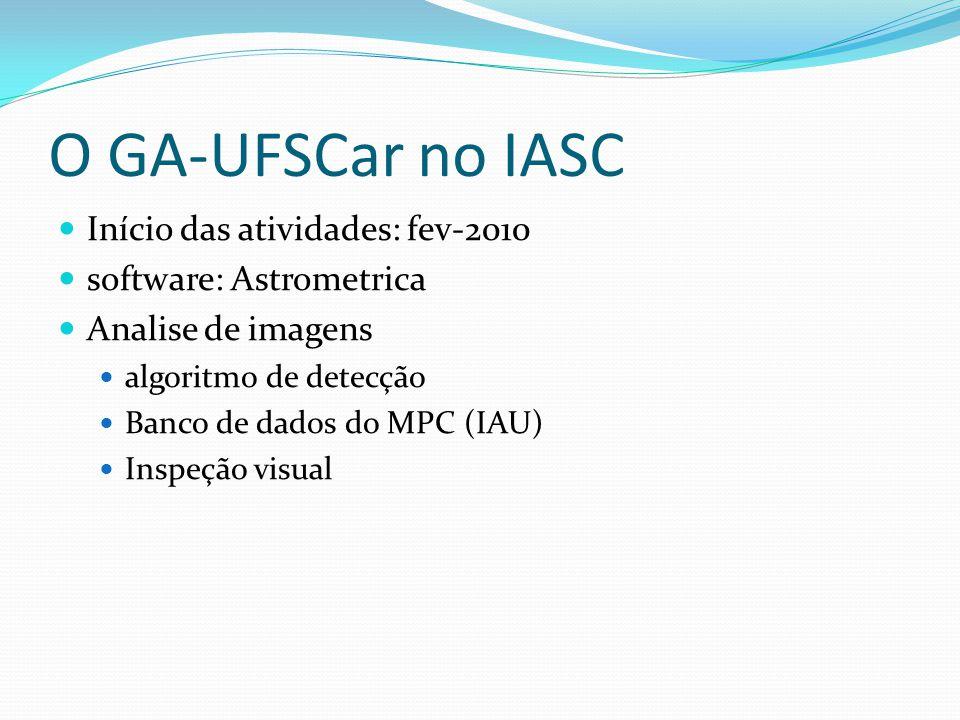 O GA-UFSCar no IASC  Início das atividades: fev-2010  software: Astrometrica  Analise de imagens  algoritmo de detecção  Banco de dados do MPC (IAU)  Inspeção visual
