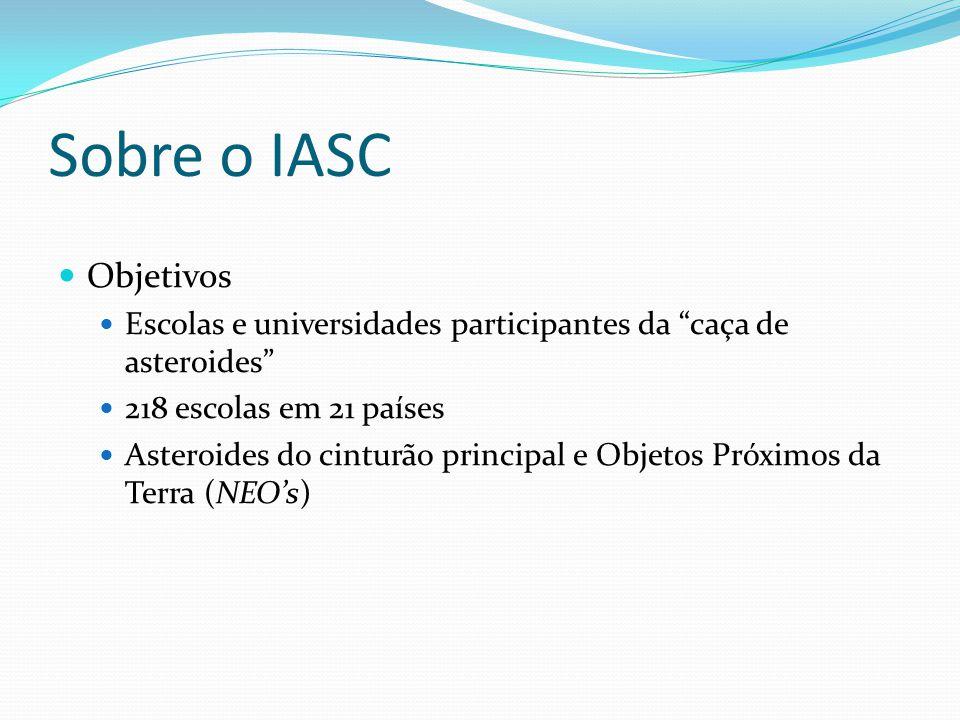 Sobre o IASC  Objetivos  Escolas e universidades participantes da caça de asteroides  218 escolas em 21 países  Asteroides do cinturão principal e Objetos Próximos da Terra (NEO's)