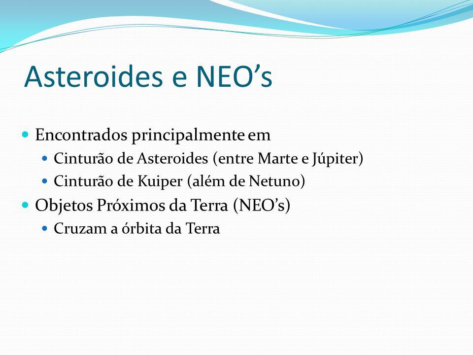 Asteroides e NEO's  Encontrados principalmente em  Cinturão de Asteroides (entre Marte e Júpiter)  Cinturão de Kuiper (além de Netuno)  Objetos Próximos da Terra (NEO's)  Cruzam a órbita da Terra